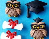 GRADUATION - College University Cap Owl Scroll Novelty Dress It Up Craft Buttons