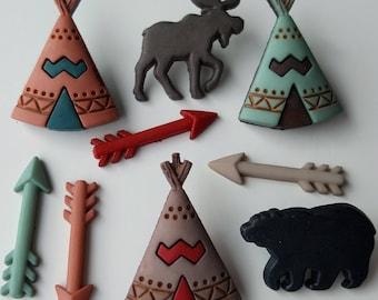 LITTLE MAN CAVE Native American Arrow Bear Teepee Tent Dress It Up Craft Buttons