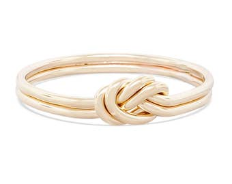 Double strand nautical knot engagement ring, 14k solid gold love knot ring
