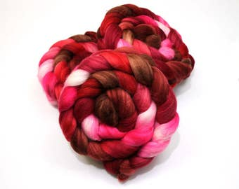 Merino Wool/ Superwash Merino/ Silk (40/40/20) Roving (Combed Top) - Hand Painted Roving for Spinning