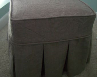 Box Pleat Skirt Ottoman Slipcover, Linen or Canvas Ottoman Cover