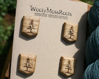 4 Wood Tree Buttons- Oregon Myrtlewood- Handmade Wooden Buttons- Knitting, Sewing, Craft Buttons