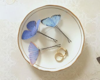 Cinderella inspired silk butterfly hair pins - trio of pale blues