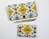 Southwest Card Case and Duplicate Checkbook Cover with Pen Holder, Geometric Gray and Yellow Cotton Fabric, Two piece set
