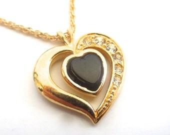 Vintage 80's Avon // Rhinestone Heart Necklace
