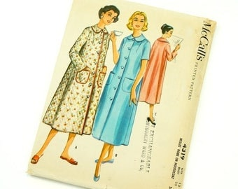 Shop Sale Vintage 1950s Womens Size 12 Robe or Housecoat McCalls Sewing Pattern 4319 / bust 32 waist 25 / Uncut Complete