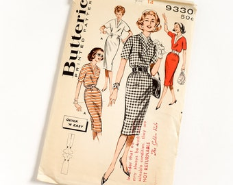 Vintage 1950s Womens Size 14 Quick Easy Town or Casual Dress Butterick Sewing Pattern 9330 Complete / b34 w26 / Slim Skirt, Neckline Styles