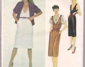 Vintage 80s Dress or Jumper Pattern Vogue 2392 Loose Fitting Top American Designer Stan Herman Office 2 Eveningwear Size 14
