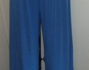 Plus Size Pants, Lagenlook, Coco and Juan, Plus Size Pant, Royal Blue, Traveler Knit, Women's Wide Leg Pant,  Size 2 fits 3X,4X