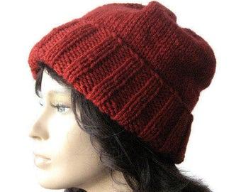 Hand Knit Hat, Watchman Cap, Slouchy Hat, The Alex Hat, Fisherman Hat, Vegan Mens Hat, Womens Hat
