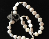 ON SALE Vintage Mother-Of-Pearl Sterling Silver Marcasite Necklace