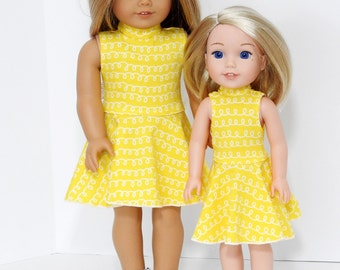 14.5 inch Doll Clothes, Fits Wellie Wisher Doll, Handmade Yellow Skater Dress