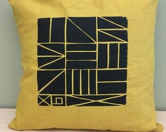 "16"" Mustard geometric pattern pillow cover"