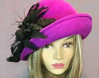 Fiona  Cloche, Fur Felt Hat, Downton Abbey millinery hat, color is Ultraviolet