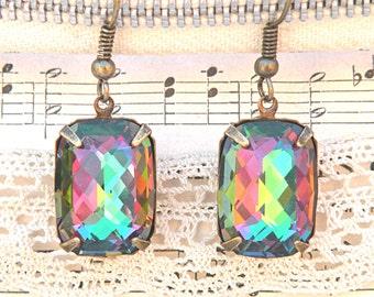 fancy rhinestone dangle earrings glass jewel chrysolite vitrail swarovski
