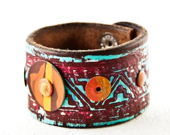 Turquoise Bracelet Leather Jewelry Wrist Cuffs For Women