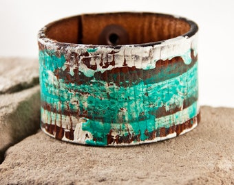 Distressed Leather Cuff Turquoise Jewelry Bracelet Wristband