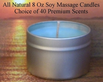 Massage Candle, Scented Soy Candles, Handmade 8 Oz Soy Wax Candles