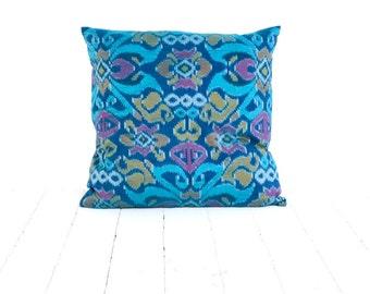 """Ikat, Cotton, Hand Woven, 18"""" x 18"""" , 46 cm x 46 cm, Zip Enclosure, Blue, Turquoise"""