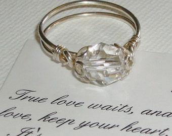 Swarovski Crystal Ring, Purity Ring, Sterling Silver
