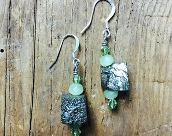 Pyrite earrings stone fools gold dangle and drop silver ear wires sensitive ears hooks green crystal bead Swarovski glass beads