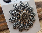 Antique Finish Sunflower Jewelry Component  ~  Sunflower Jewelry Pendant  ~  Antique Silver Finish & Rhinestones Jewelry Supply