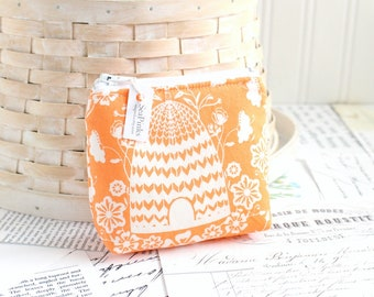 Cute Bee Hive Coin Purse Orange Change Purse Card Holder Zipper Pouch