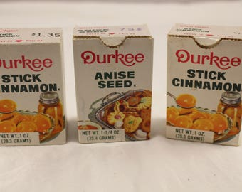Vintage  Durkee Stick Cinnamon and Anise Seed Spice Boxes