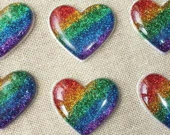 Rainbow Heart Brooch GBLT Love Rainbow Bridge Gay Pride Sparkle Glitter Finished Resin Heart Shaped Badge