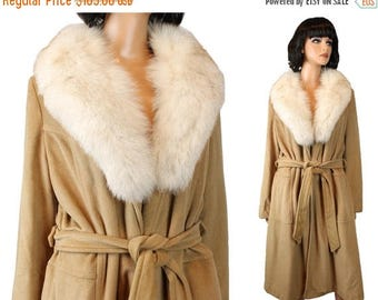 ON SALE Princess Coat Sz M Vintage 70s Brown Velour Fox Fur Collar Long Winter Trench Free Us Shipping