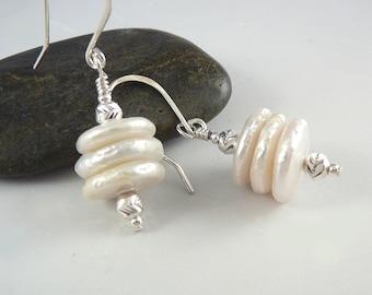 Cultured Pearl Earrings, June Birthstone Earrings, Pearl Drop Earrings, Smart Jewelry, June Birthstone Jewelry, White Earrings, 925 Silver