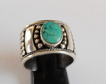 Solid Silver 925 Turquoise band Ring /  size US 8 ready to send / Bali handmade jewelry / (#223m)