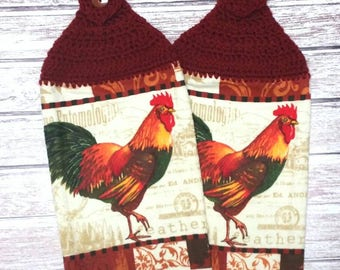 Rooster Chicken Towel Topper Rust Bird Hen Kitchen Dish Towels Crochet Set of 2 Kitchen Decor Housewarming Gift Country Farm Animals