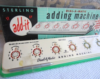 Vintage 1950s Sterling Adding Machine Dial A Matic Old School Calculator