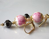 Victorian Beaded Earrings, Hand Painted Pink Beads Flower Earrings. Victorian Dangles, Gold Leverback, Gemstone Jewelry