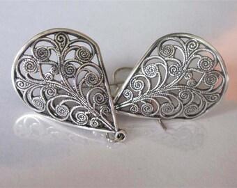 Silver Filigree Bridal Earrings, Teardrop Dangle,  Romantic Silver Drop, Filigree Earrings, Brass Earrings, Simple Drop, Minimalist Jewelry