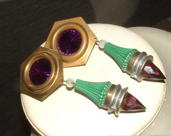 big sale on these---vintage 60s AMETHYST ARTIST EARRINGS- authentic real stones  clip ons --designer unsigned