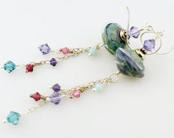 Long Lampwork Earrings, Sterling Silver Earrings- Blue,  Purple, Green Beads, Beaded Jewelry, Shoulder Duster