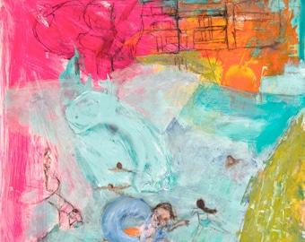 Fine Art Giclee, Print fuchsia, orange turquoise, green, bathers modern wall art print by Ana Gonzalez
