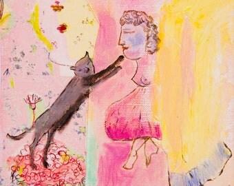 Art Print download, digital Print, Printable download, digital 300 DPI JPG pink fuchsia yellow, instant download Spanish Art
