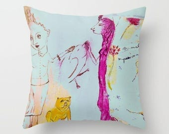 Art pillow cover, pillow case, decorative throw pillow, spun poplin, fuchsia turquoise cushion case, girls bird dog