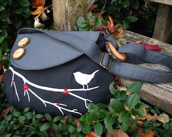 Bird Bag, Canvas Handbag, Black and Dark Gray Purse, Messenger, Shoulder Bag,  School Bag, 3 Large Pockets, 1 Large Zipper Pocket