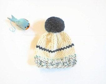 Newborn to 3 Mos. Knit Baby Hat/Chunky Knit BabyHat/ Pom Pom Hat/Hand Knit Baby Hat/Baby Hat/Newborn Beanie/Knit Beanie/Baby Boy Hat