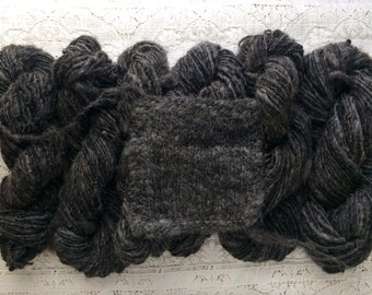 Yarn, Hand Spun, Undyed, Maine Icelandic Wool, Single Ply, Worsted Weight, Coal
