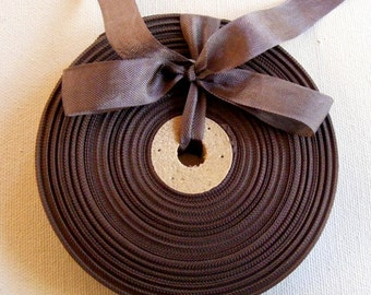 Vintage 1930's-40's French Woven Ribbon -Milliners Stock- 5/8 inch Nut Brown
