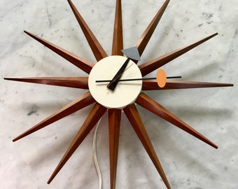 Vintage George Nelson Starburst Clock Howard Miller Spike Star Sunburst