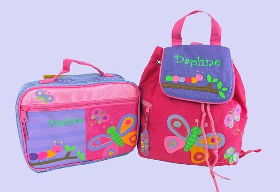 Child's Personalized Stephen Joseph Toddler BUTTERFLY Backpack and Lunch Box School Set-Monogramming Included