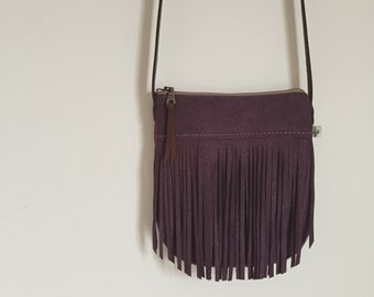 Purple Fringe Crossbody Bag, Bohemian Crossbody Purse