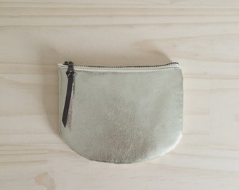 Gold Coin Purse, Metallic Holiday Pouch, Vegan Leather