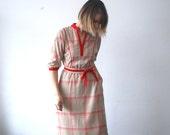 70s midi dress.plaid dress. belted day dress - small